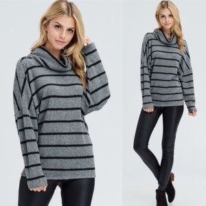 Super soft warm black and gray striped sweater